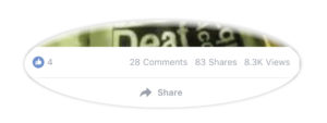 A screenshot shows that the video was shared 83 times with four likes.