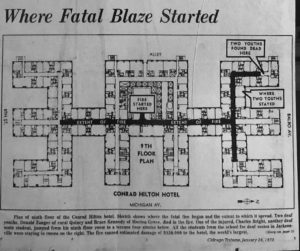 Floor map of ninth floor where the fire started