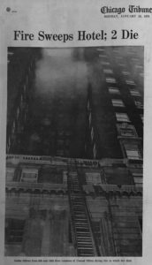 B+W photograph of hotel with smoke coming out of the windows. At bottom is the concrete terrace that Bright jumped to.