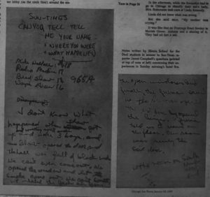 Pictures of written notes between ISD students and newspaper reporters